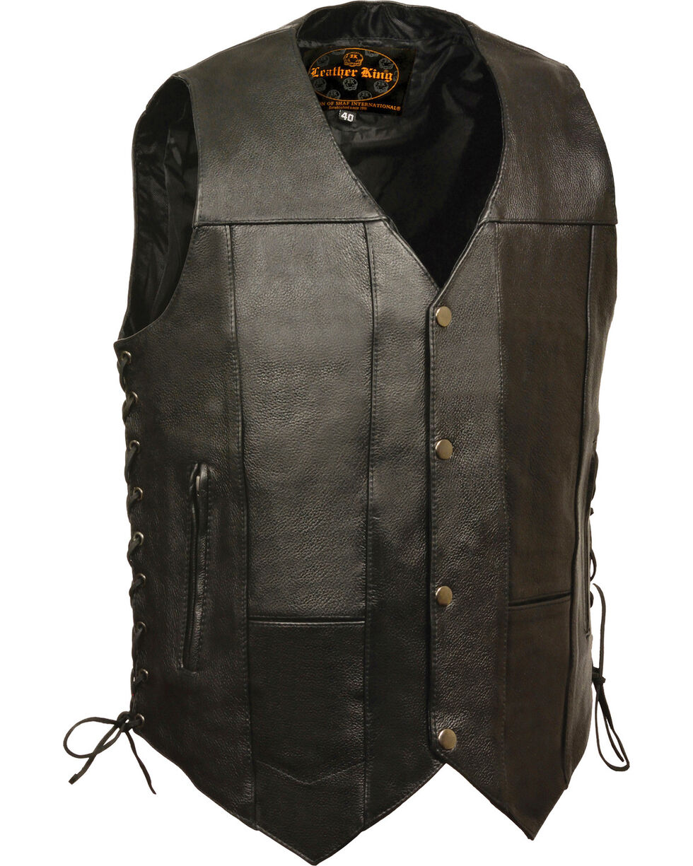 Milwaukee Leather Men's 10 Pocket Side Lace Vest - Big, Black, hi-res