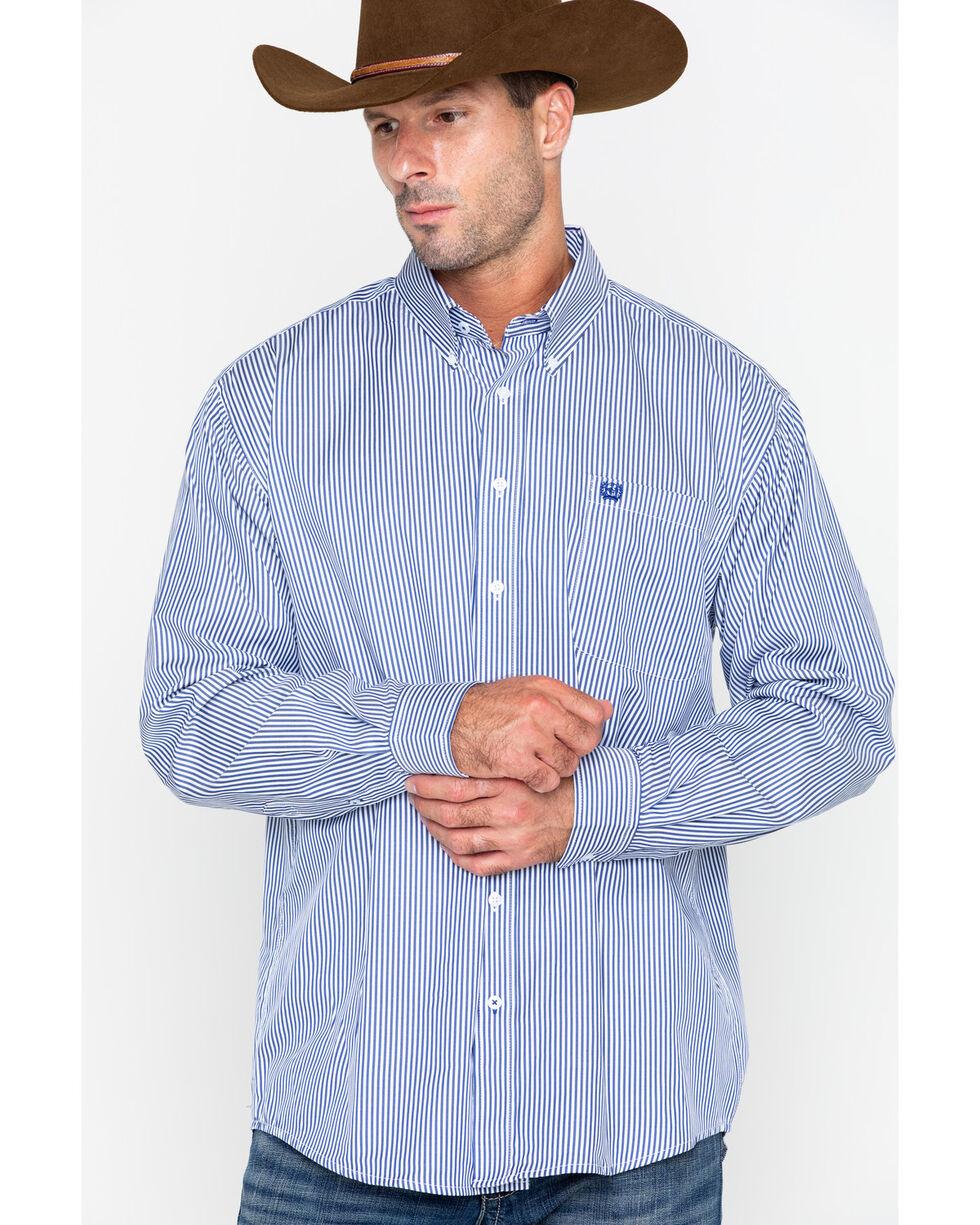 Cinch Men's Royal Blue Stripe Long Sleeve Button Down Shirt, Royal Blue, hi-res