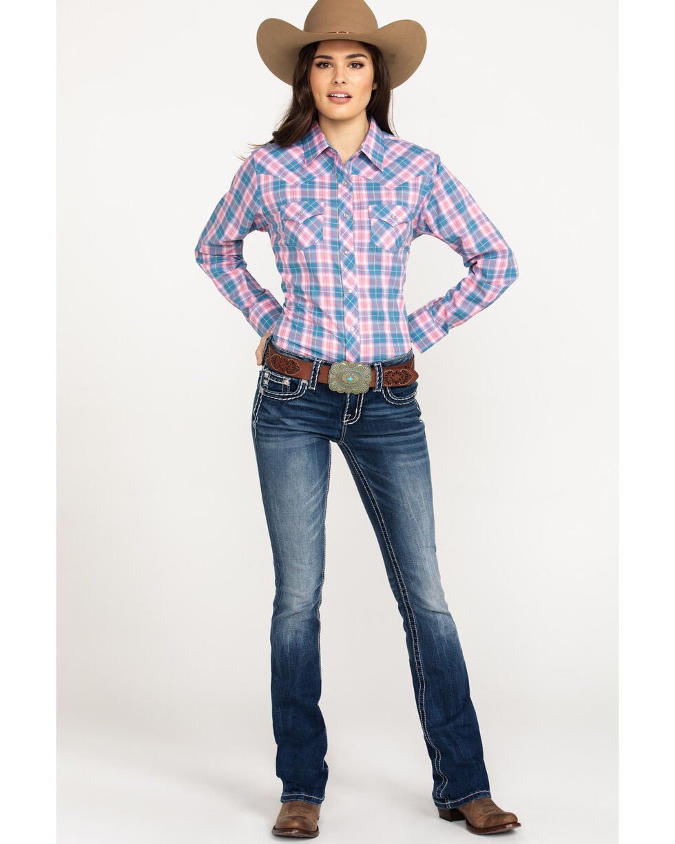 Ely Cattleman Women's Pink Plaid Snap Long Sleeve Western Shirt , Pink, hi-res