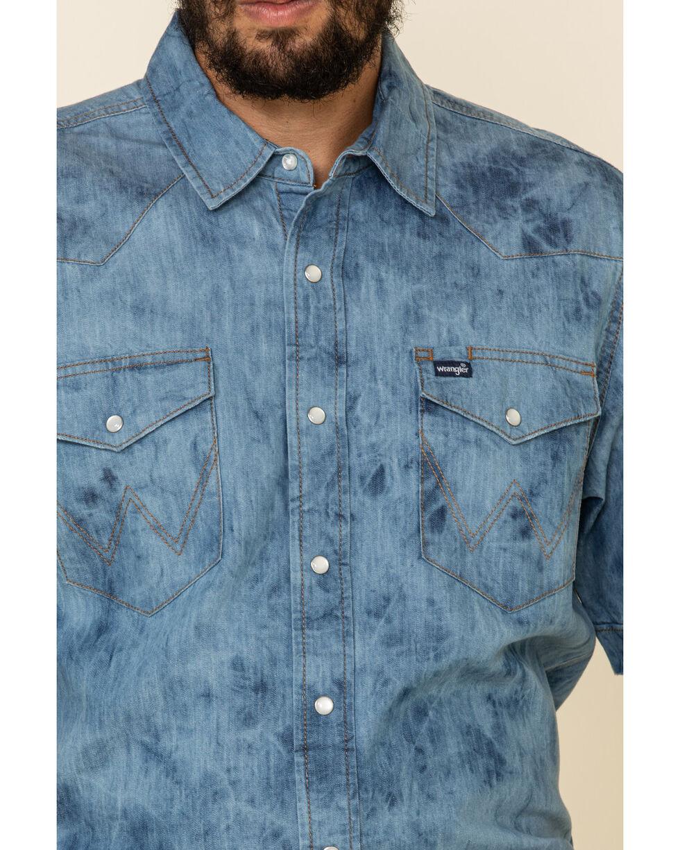 WAWAYA Men Button Down Regular Fit Summer Short Sleeve Embroidery Denim Work Western Shirt