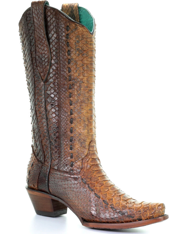 Corral Women's Tan Full Python Woven Cowgirl Boots - Snip Toe, Wheat, hi-res