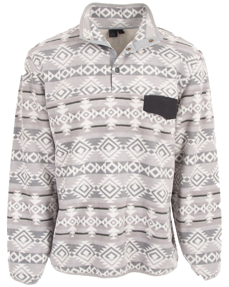 STS Ranchwear Men's Grey Unisex Aztec Fleece Sweatshirt - Big , Grey, hi-res