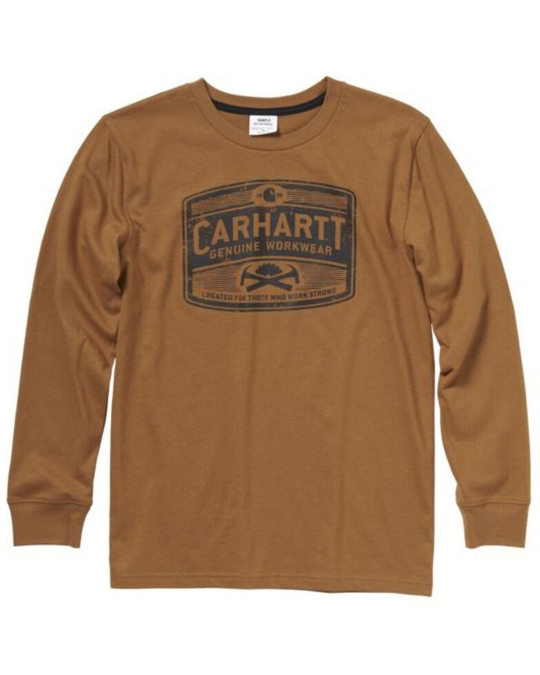 Carhartt Boys' Brown Logo Graphic Long Sleeve T-Shirt , Brown, hi-res