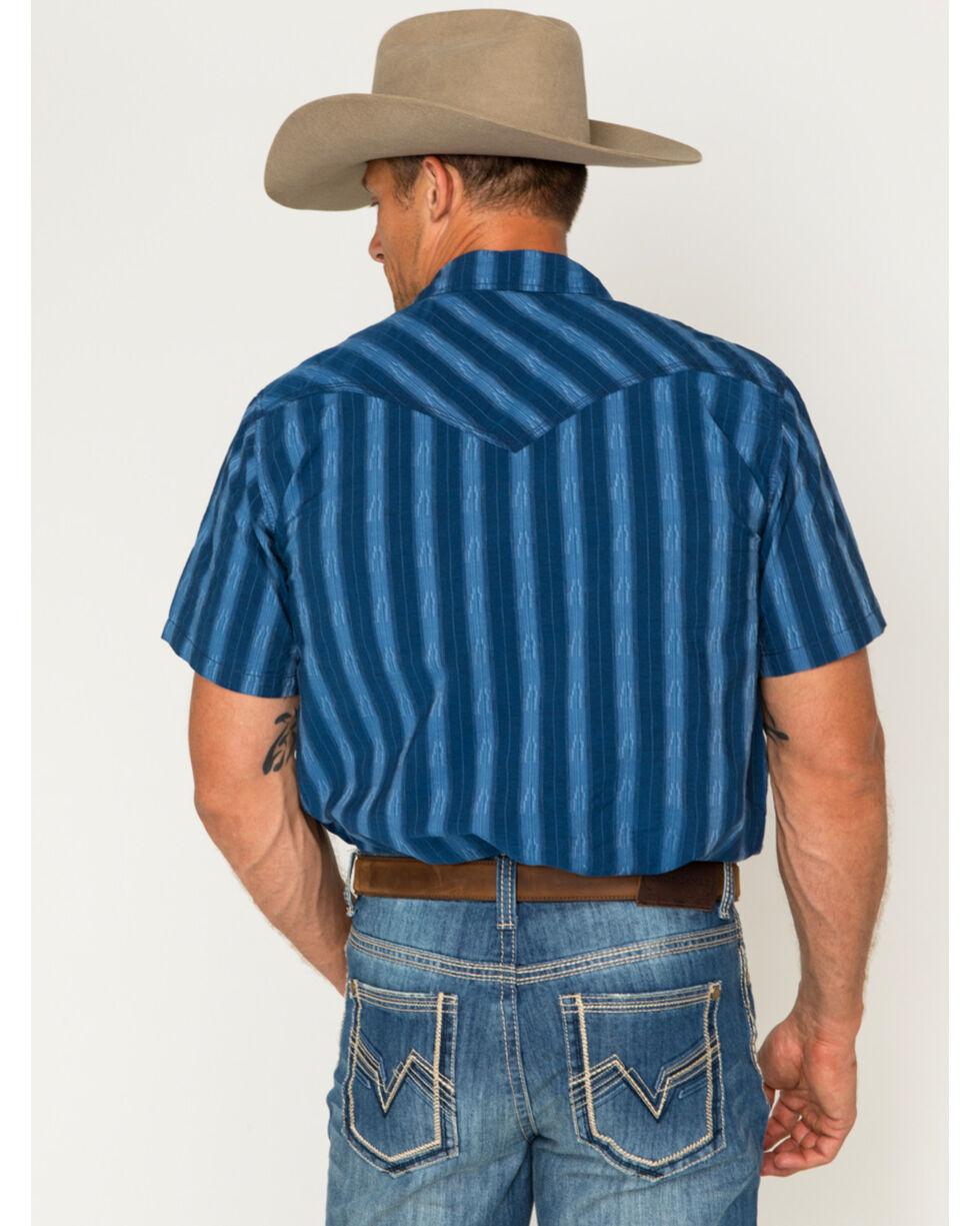 Cody James Men's Drifter Blue Stripe Short Sleeve Western Snap Shirt, Blue, hi-res