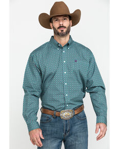 Cinch Men's Green Small Geo Print Long Sleeve Western Shirt , Green, hi-res