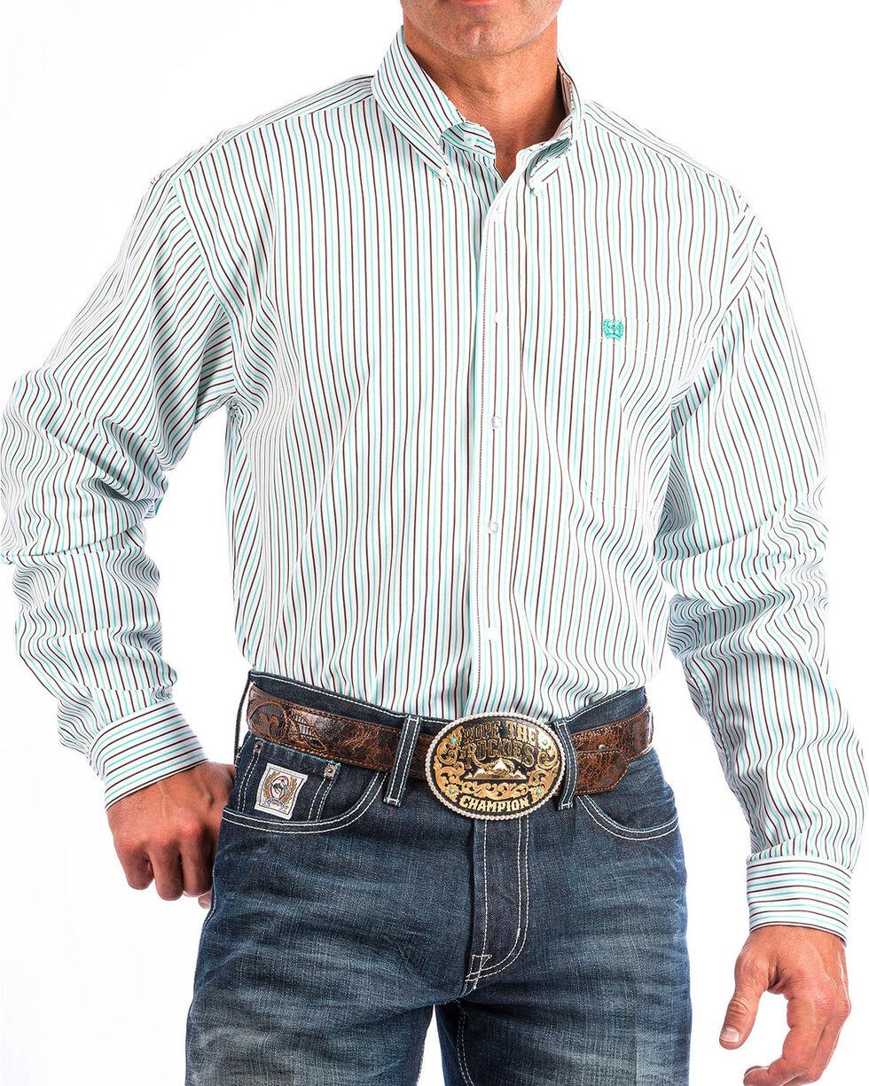 Cinch Men's White Striped Long Sleeve Button Down Shirt, White, hi-res
