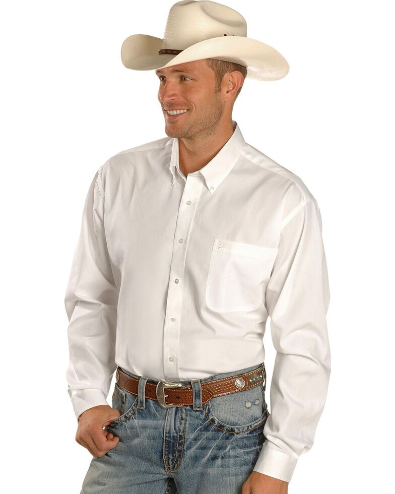 Cinch Men's Long Sleeve Solid Western Shirt, White, hi-res