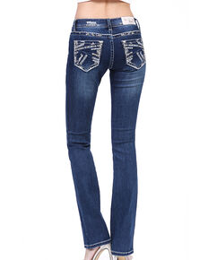 Grace in LA Women's Dark Border Stitch Bootcut Jeans , Blue, hi-res
