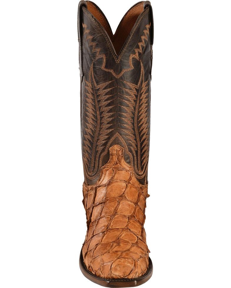 Lucchese Handmade Cognac Murphy Pirarucu Cowboy Boots - Snip Toe , Cognac, hi-res
