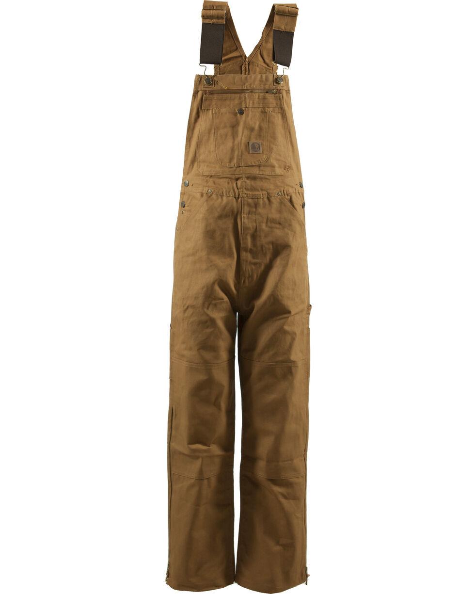 Berne Men's Original Unlined Duck Bib Overalls - Extra ShortX, Brown, hi-res