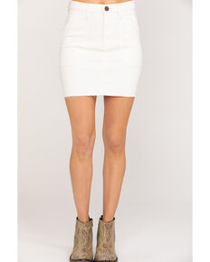 Wrangler Modern Women's Ivory Denim Raw hem Mini Skirt, Ivory, hi-res