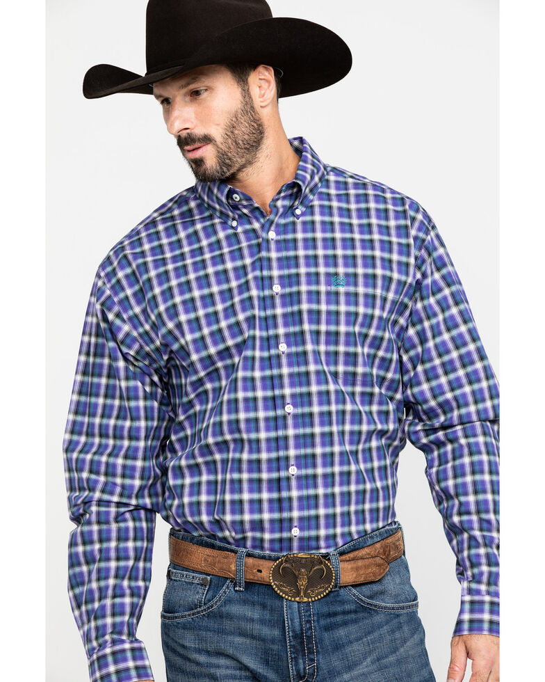 Cinch Men's Multi Large Plaid Button Long Sleeve Western Shirt , Purple, hi-res