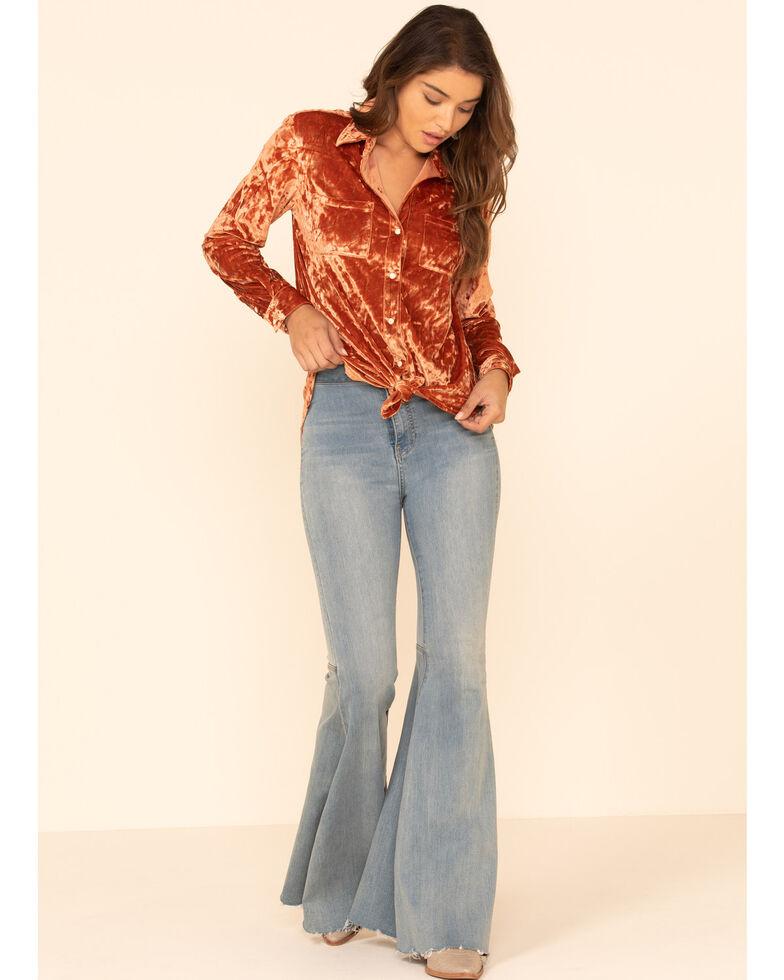 Rock & Roll Cowgirl Women's Mauve Velvet Long Sleeve Western Shirt, Mauve, hi-res
