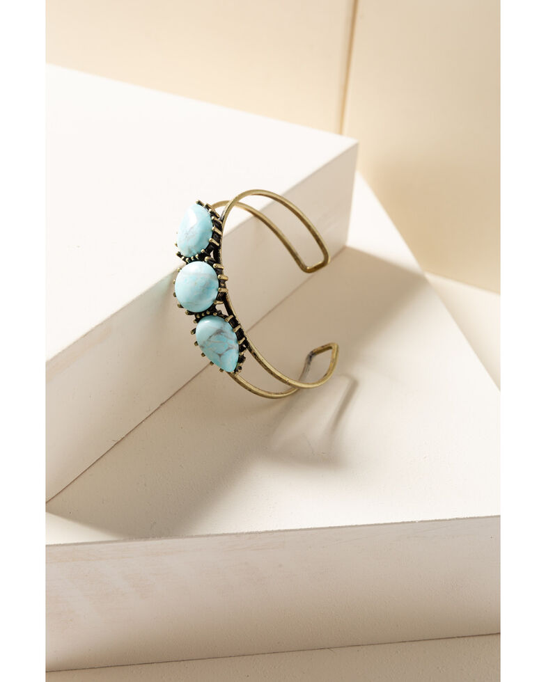 Shyanne Women's Gilded Gold Turquoise Stone Cuff, Gold, hi-res