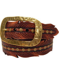 Roper Women's Brown Feather Shape Cutout Leather Belt , Brown, hi-res