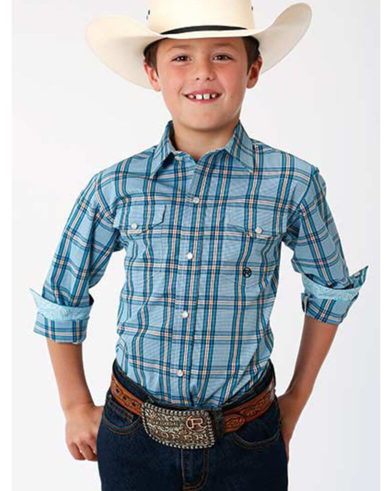 Roper Boys' Amarillo Cold Creek Plaid Long Sleeve Western Shirt , Turquoise, hi-res