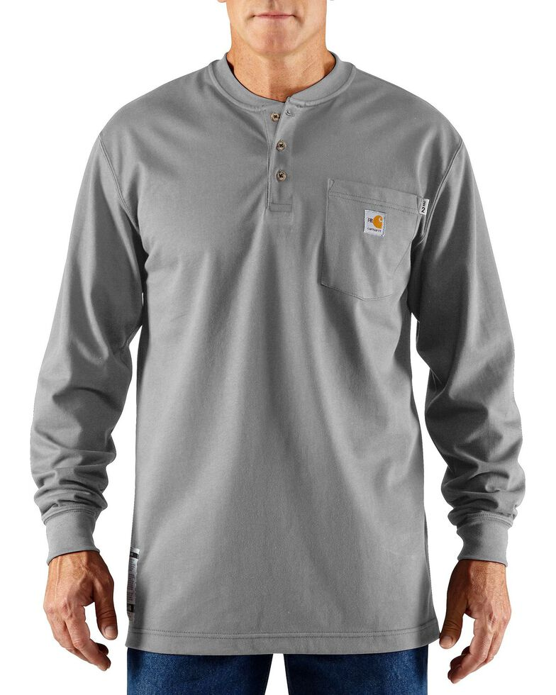Carhartt Flame Resistant Henley Long Sleeve Work Shirt, Lt Grey, hi-res
