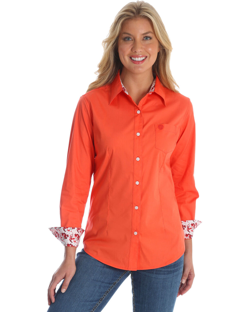 Wrangler Women's Peach George Strait Solid Print Shirt , Multi, hi-res