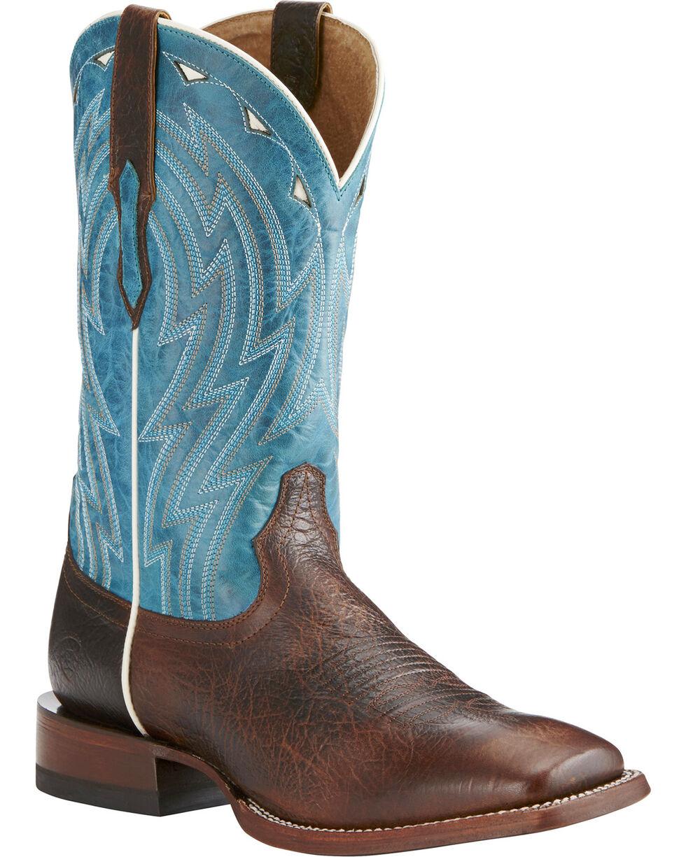 Ariat Men's Cowtown Bullfrog Western Boots, Chocolate, hi-res