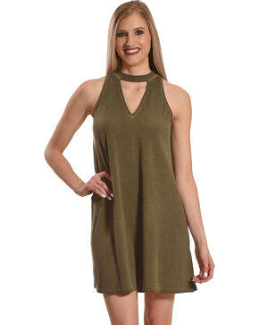 Derek Heart Women's Olive Mock Neck Dress , Olive, hi-res