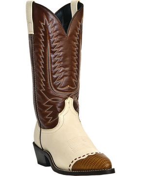 Laredo Men's Flagstaff Wingtip Western Boots, White, hi-res