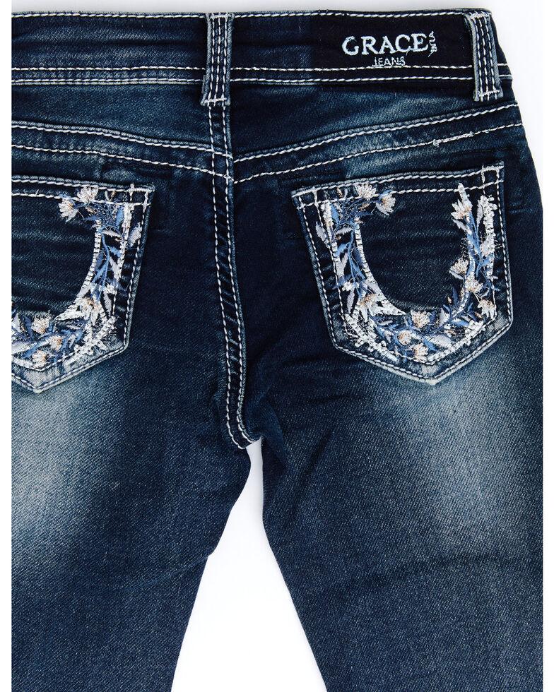 Grace In LA Toddler Girls' Dark Floral Horseshoe Embellished Bootcut Jeans, Blue, hi-res