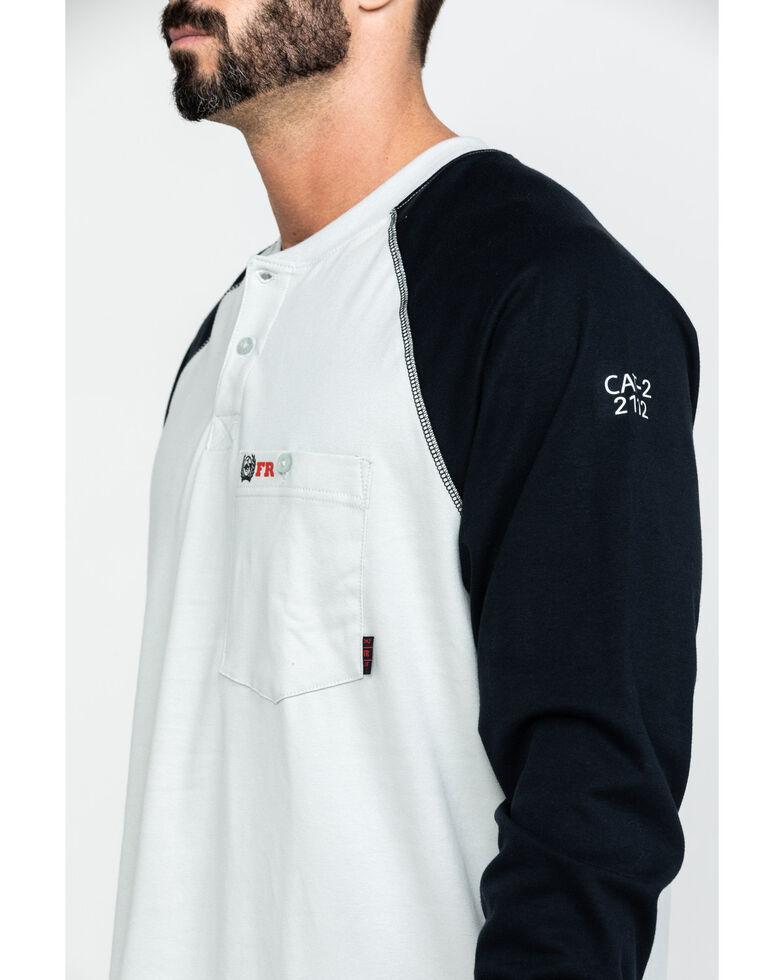 Cinch Men's FR Baseball Pocket Henley Long Sleeve Work Shirt , Grey, hi-res