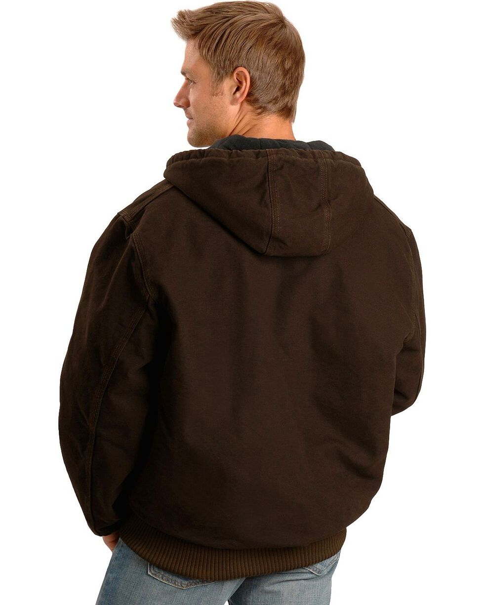 Carhartt Flannel Lined Sandstone Work Jacket, Dark Brown, hi-res