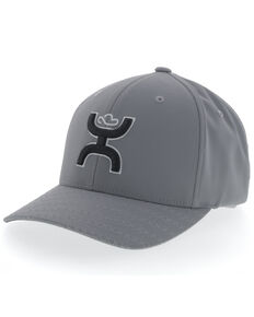 HOOey Men's Grey Solo III Flex Fit Ball Cap , Grey, hi-res