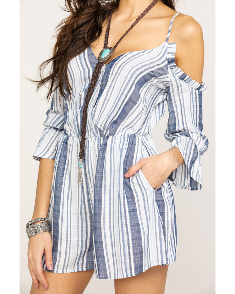 Shyanne Women's Blue Stripe Cold Shoulder Romper, Blue, hi-res