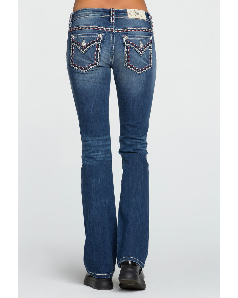 Miss Me Women's On The Move Mid-Rise Boot Cut Jeans, Dark Blue, hi-res