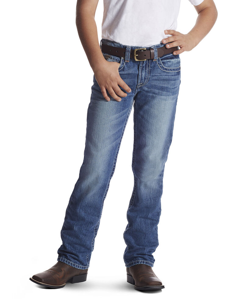 Ariat Boys' Charger Dakota Low Slim Straight Jeans , Blue, hi-res