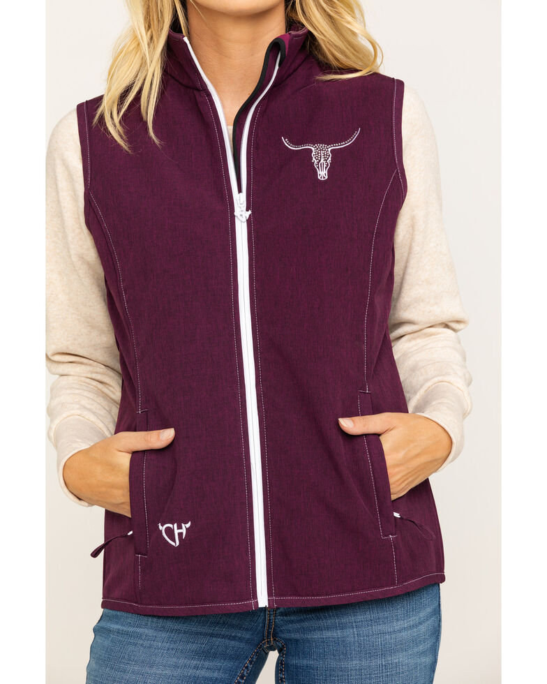 Cowgirl Hardware Women's Lost Crystal Skull Poly Shell Vest, Burgundy, hi-res