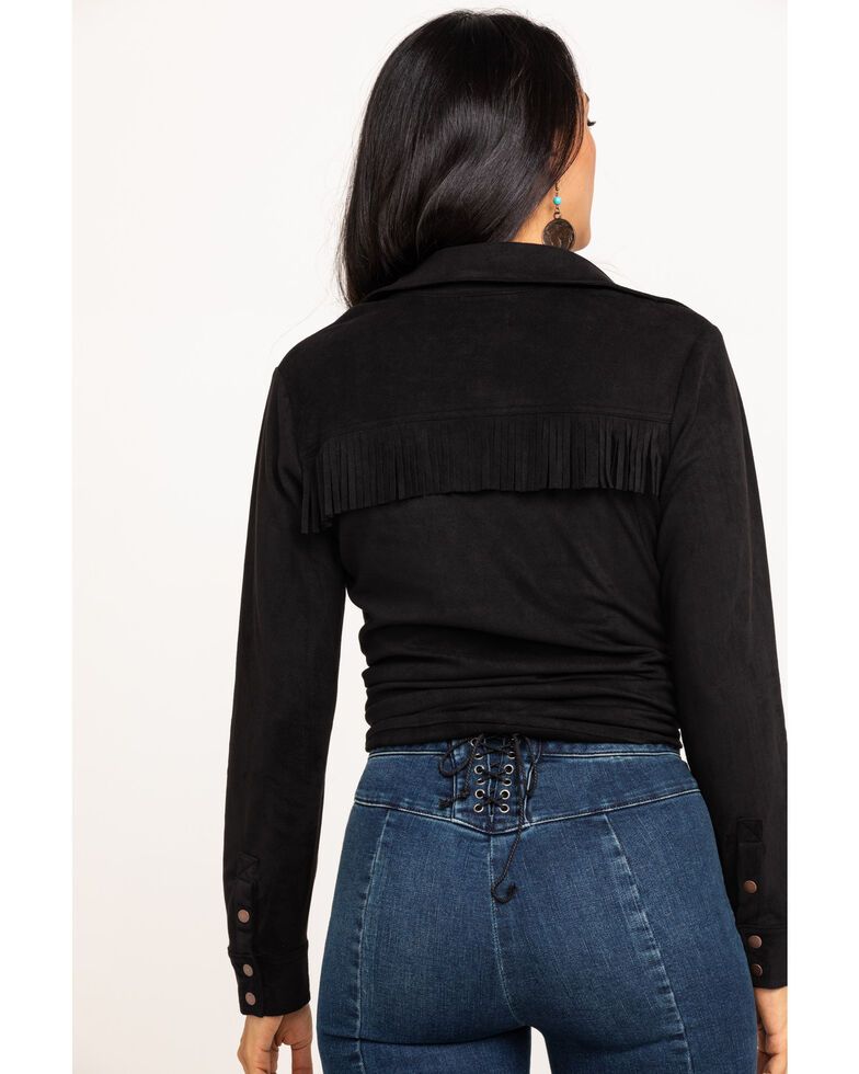 Shyanne Life Women's Faux Suede Fringe Long Sleeve Western Shirt, Black, hi-res