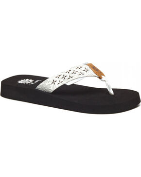 Yellow Box Women's White Benji Laser Cut Sandals , White, hi-res