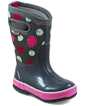Bogs Girls' Classic Sketched Dots Waterproof Boots - Round Toe, Grey, hi-res