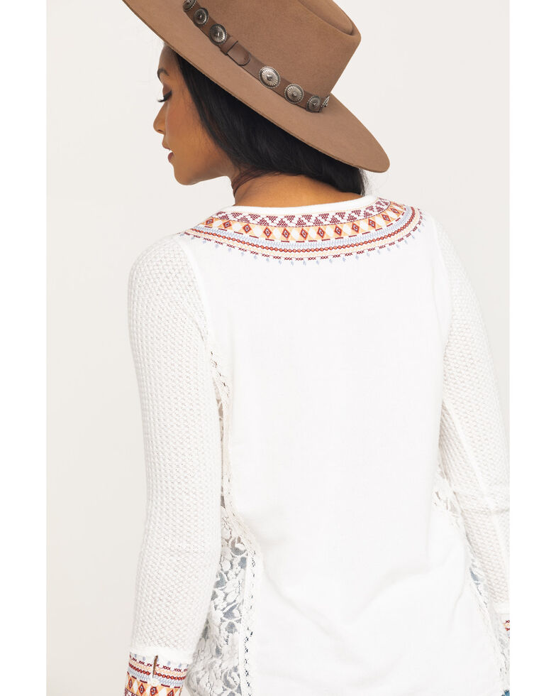 Miss Me Women's Ivory Lace Thermal Henley, Ivory, hi-res