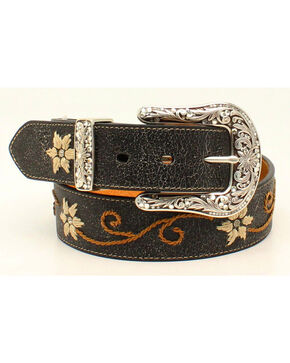 Nocona Women's Floral Embroidered Leather Belt, Black, hi-res