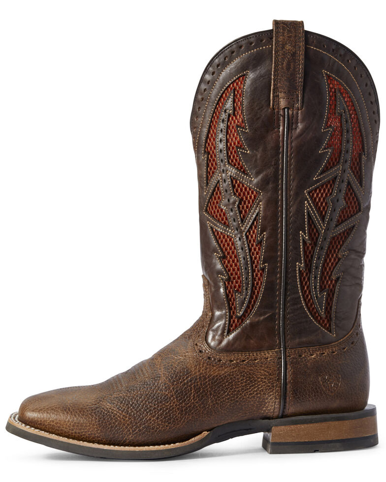 Ariat Men's Cowhand VentTEK Western Boots - Wide Square Toe, Brown, hi-res