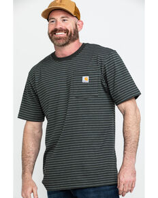 Carhartt Men's Peat Stripe Workwear Pocket Short-Sleeve Work T-Shirt, Dark Grey, hi-res