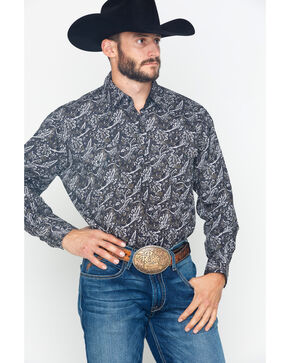 Ely Cattleman Men's Long Sleeve Bold Paisley Print Shirt , Black, hi-res