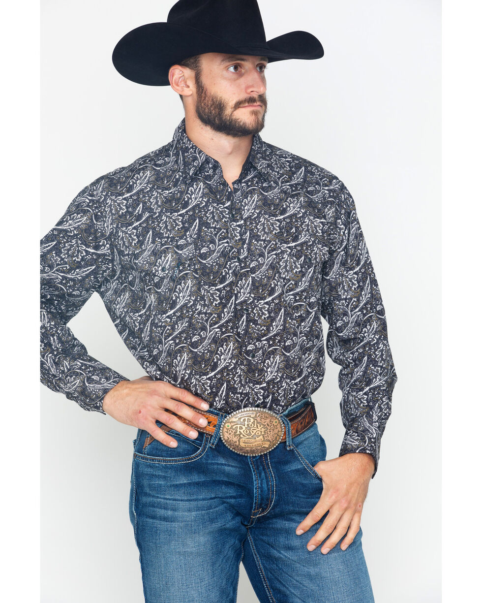 Ely Cattleman Men's Long Sleeve Bold Paisley Print Shirt , Black, hi-res