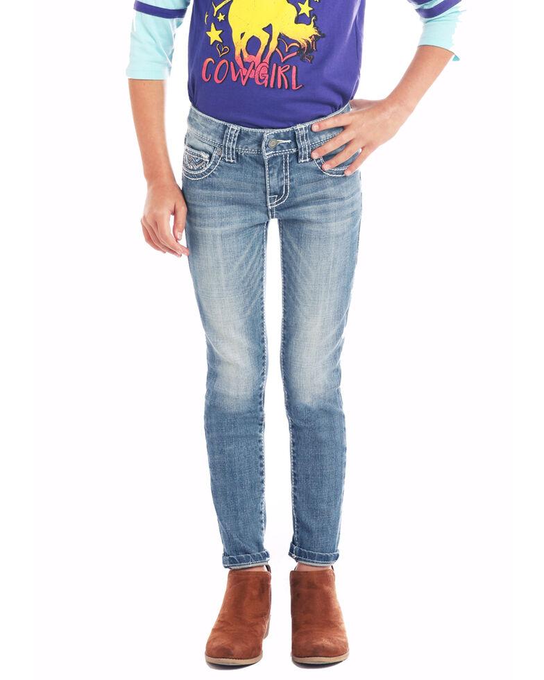Rock & Roll Cowgirl Girls'  Light Wash Zig-Zag Skinny Jeans , Blue, hi-res
