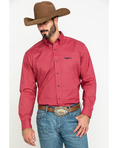 Ariat Men's Relentless Worthy Stretch Geo Print Long Sleeve Western Shirt , Red, hi-res