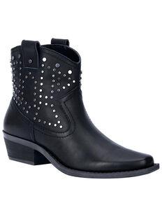 Dingo Women's Dusty Studded Booties - Snip Toe, Black, hi-res