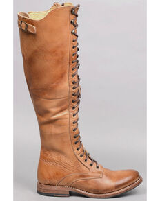 Bed Stu Women's Della Tall Lace-Up Boots - Round Toe , Tan, hi-res