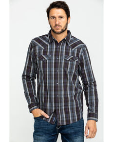 Moonshine Spirit Men's Arrowbear Med Plaid Long Sleeve Western Shirt , Brown, hi-res