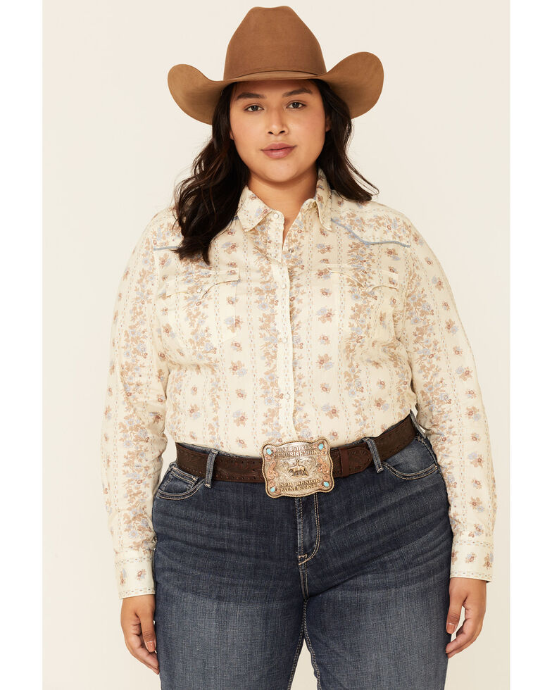 Roper Women's Vintage Wallpaper Floral Print Long Sleeve Snap Western Shirt - Plus, Ivory, hi-res