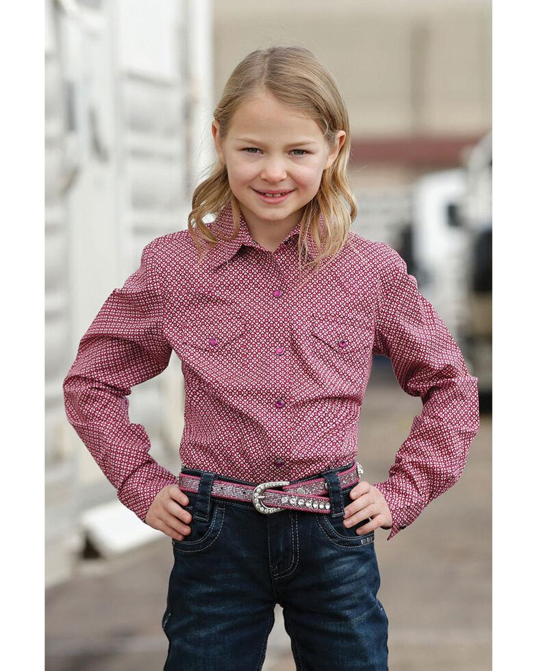 Cruel Girl Girls' Geo Print Long Sleeve Western Shirt, Purple, hi-res
