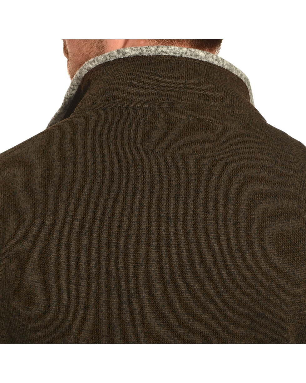Victory Rugged Wear Men's Heather Knit Quarter Zip Pullover, Brown, hi-res